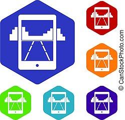 mobile, jeu, hexagone, ensemble, icônes