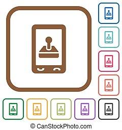 mobile, jeu, icônes simples