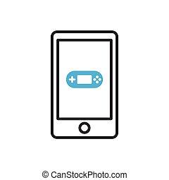 mobile, jeu, icon., smartphone