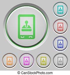 mobile, jeu, poussée boutonne
