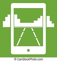 mobile, jeu, vert, icône