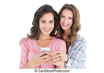 mobile, jeune, téléphone, femme, amis, désinvolte