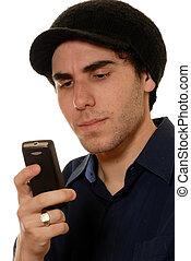 mobile, jeune, téléphone, homme, texting