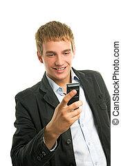 mobile, jeune, téléphone, tenue, heureux, homme