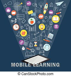 mobile learning with tablet - Flat modern design vector...