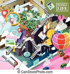 mobile life concept