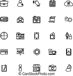 Mobile line icons on white background
