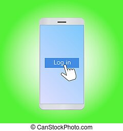 Mobile log in vector illustration - Mobile phone with log in...