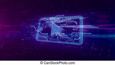 mobile, média, concept, cyber, joueur