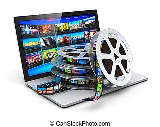 mobile, média, concept, vidéo, numérique