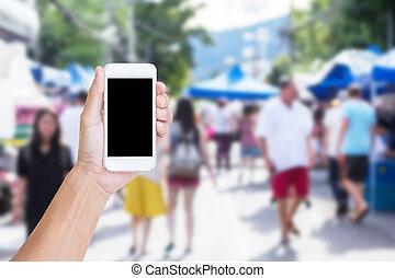 mobile, main, téléphone, rue, tenue, barbouillage, marché