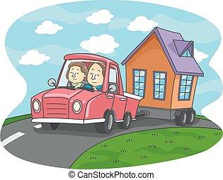 mobile, maison, minuscule