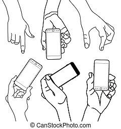 mobile, mano, telefono, presa a terra, tocco, far male