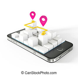 mobile map isolated on a white background
