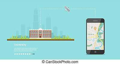 mobile maps concept - picture of a mobile phone with map and...