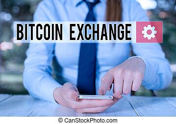 mobile, marché, tenue, exchange., où, bitcoins, personne, écriture, showcasing, femme, séance, projection, achat, vendre, bitcoin, numérique, commerçants, business, conceptuel, boîte, main, photo, téléphone.