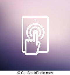 mobile, marchio, telefono, magro, tocco, linea, icona