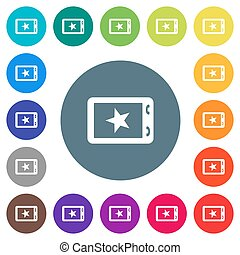 Mobile mark flat white icons on round color backgrounds