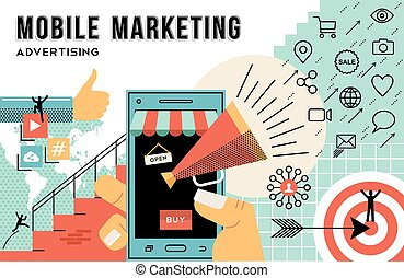 Mobile marketing and advertising concept line art