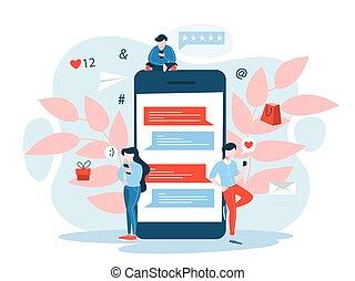 mobile, marketing, concept., comunicazione, idea, digitale