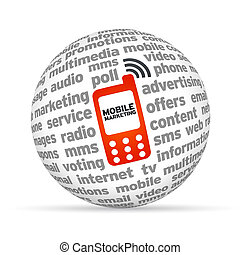 Mobile Marketing - 3D sphere with the word mobile marketing...