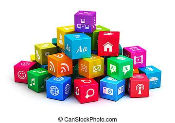 mobile, media, concetto, tecnologia, domande