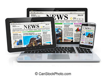 Mobile media devices concept: office laptop, tablet PC...