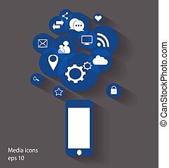 mobile media icons blue color