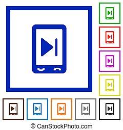 Mobile media next flat framed icons