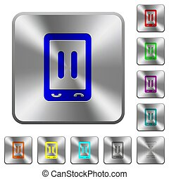Mobile media pause rounded square steel buttons