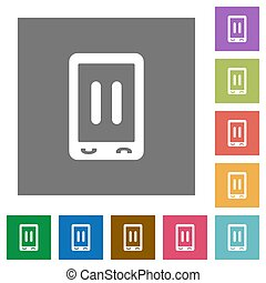 Mobile media pause square flat icons