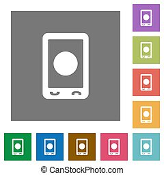 Mobile media record square flat icons
