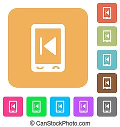 Mobile media rounded square flat icons