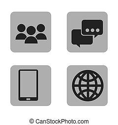 mobile, media, sociale, icona