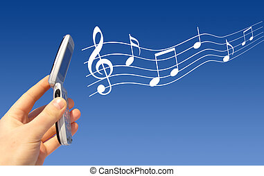 Mobile melody - Mobile phone in hand plays melody.