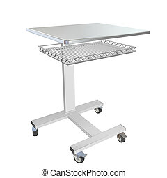 Mobile metal medical over bed table with wire mesh tray, 3d illustration, isolated against a white background
