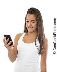 mobile, mignon, sourire, adolescent, téléphone