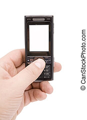 Mobile phone in man hand whith empty display