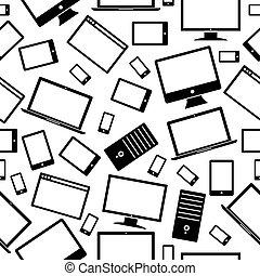 mobile, modello, computer, tavoletta, icone