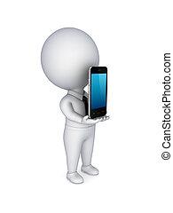 mobile, moderne, .3d, personne, téléphone., petit