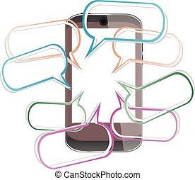 mobile, moderne, illustration, téléphone, vecteur, parole, bulles, intelligent
