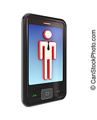mobile, moderne, person., téléphone, petit, 3d