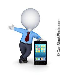 mobile, moderne, personne, téléphone., 3d, petit