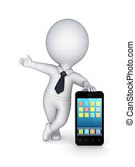 mobile, moderne, personne, téléphone., petit, 3d