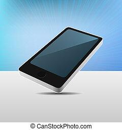 mobile, moderne, réaliste, vecteur, téléphone., vue, 3d