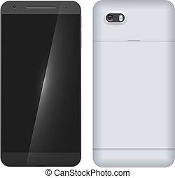mobile, moderno, indietro, isolato, telefono, fondo, fronte, bianco