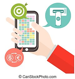 Mobile money transfer goal exchange Currency concept with a symbol of credit card on smartphone technology vector