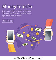 Mobile money transfer vector concept. Two hands take mobile...