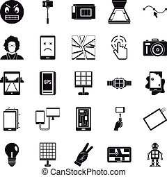 Mobile monitor icons set, simple style