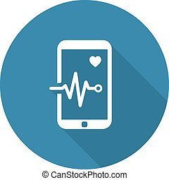 Mobile Monitoring and Medical Services Icon. Flat Design. ...